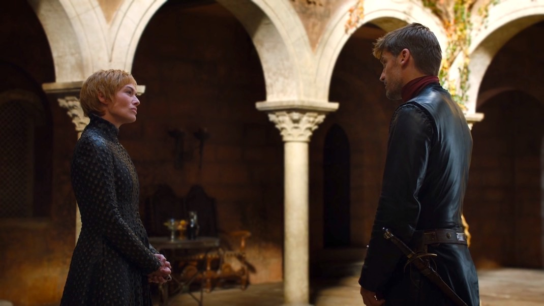 Lena Headey and Nikolaj Coster-Waldau in GOT 7x01