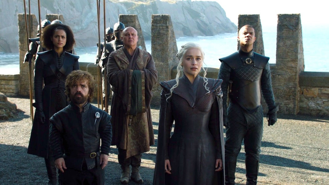 Missandei, Tyrion, Varys, Daenerys, and Grey Worm in GOT 7x01