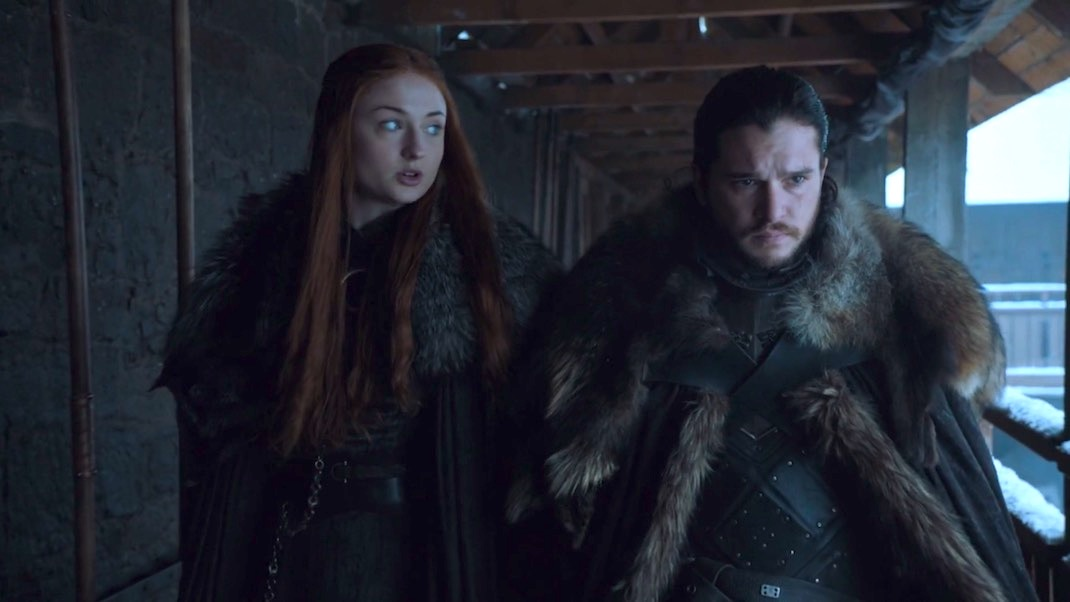 Sophie Turner and Kit Harington in GOT 7x01