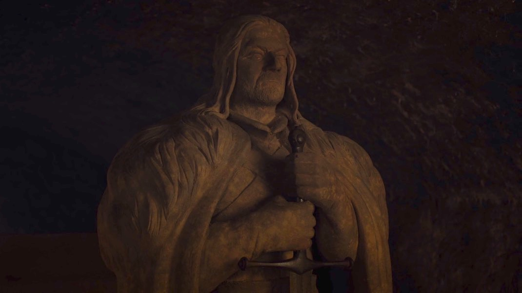 The Statue of Eddard Stark in GAME OF THRONES 7X02 - STORMBORN