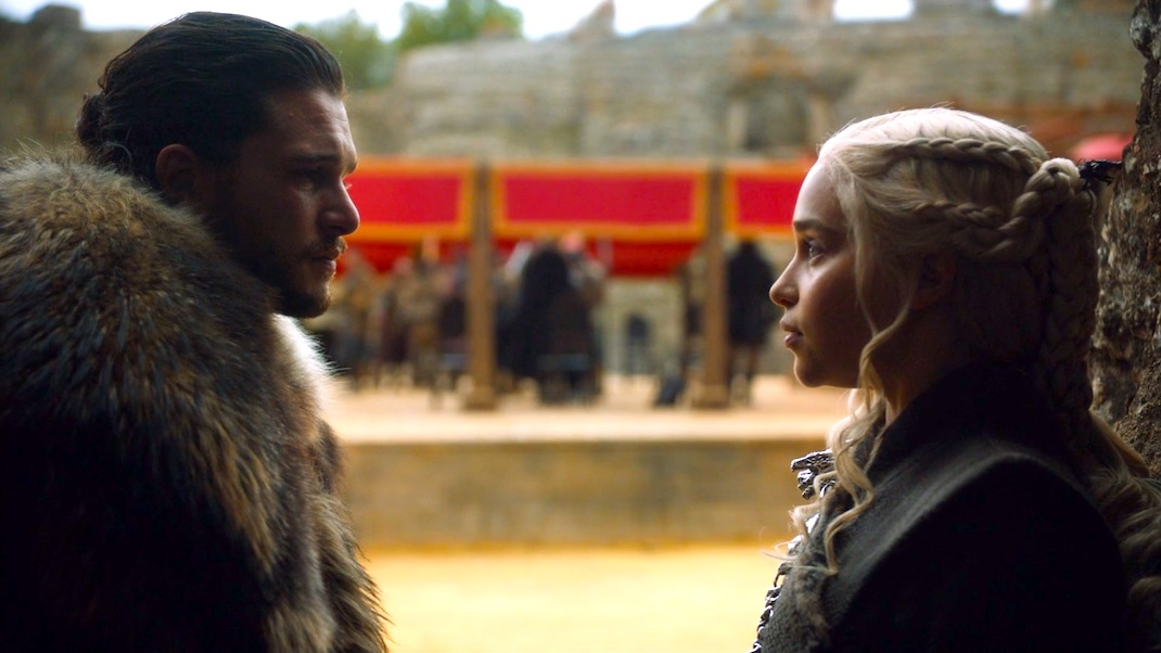 Jon and Dany in GOT 7x07 - The Dragon and the Wolf