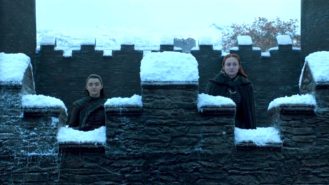 Arya and Sansa in GOT 7x07 - The Dragon and the Wolf