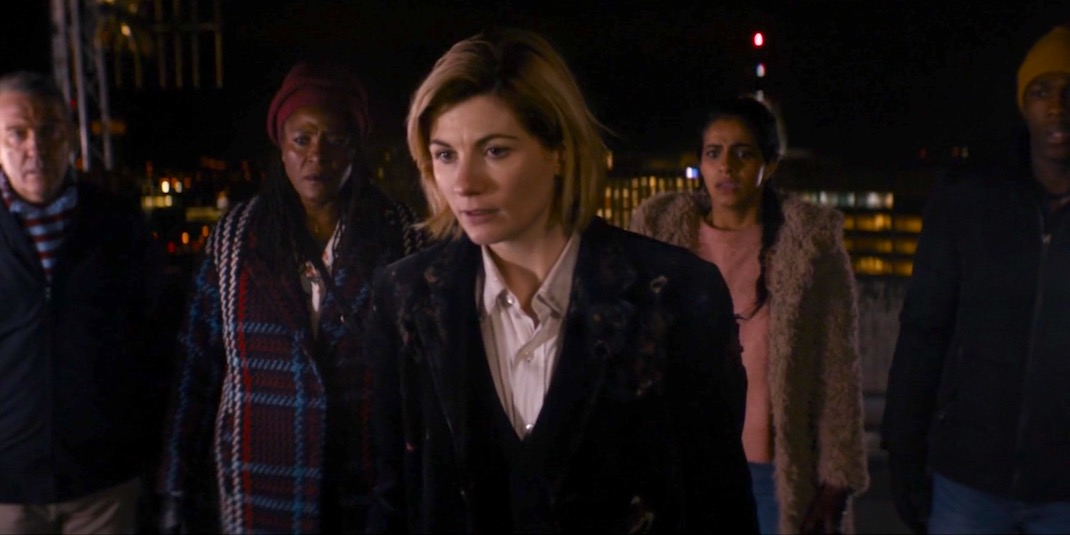 Bradley Walsh, Sharon D. Clarke, Jodie Whittaker, Mandip Gill, and Tosin Cole in The Woman Who Fell to Earth