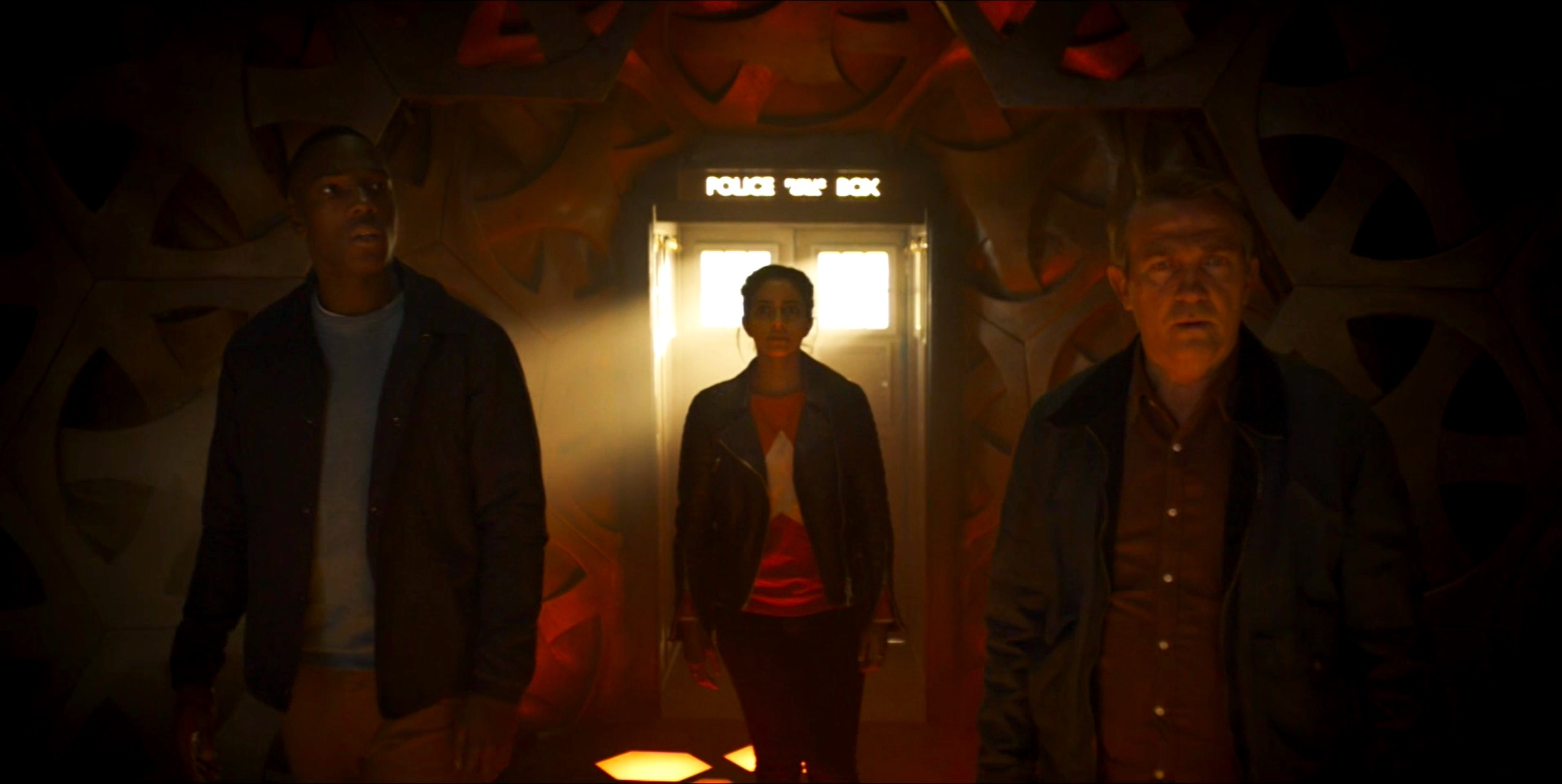 Tosin Cole, Mandip Gill, and Bradley Walsh in The Ghost Monument