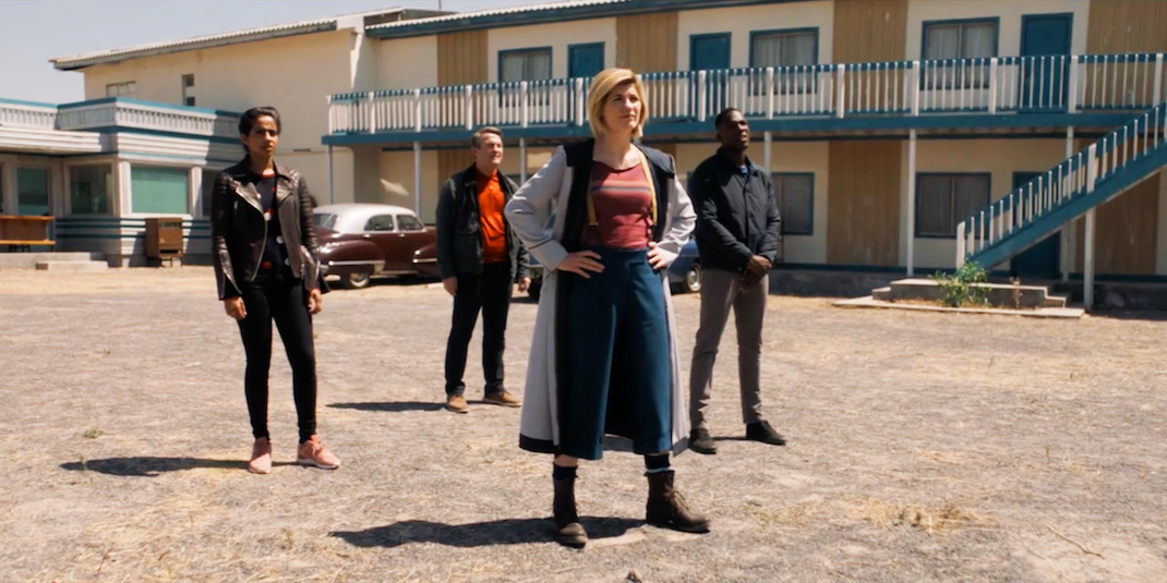 Mandip Gill, Bradley Walsh, Jodie Whittaker, and Tosin Cole in Rosa
