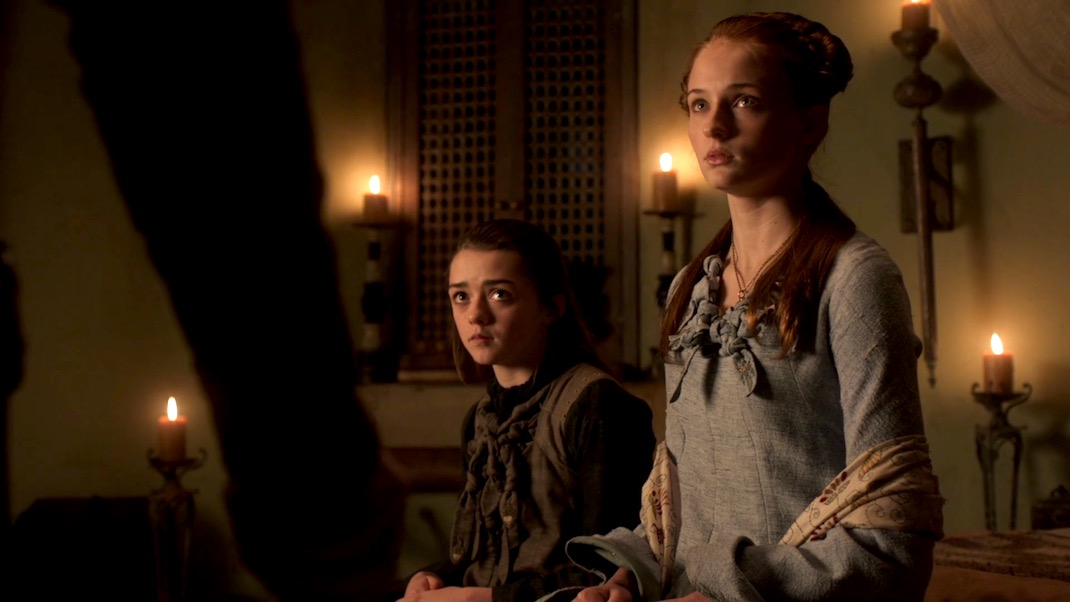 Arya and Sansa in GOT 1x06 - A Golden Crown