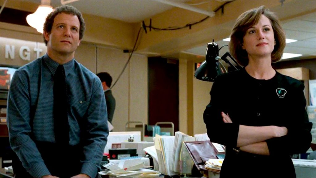 Albert Brooks and Holly Hunter in BROADCAST NEWS (1987)