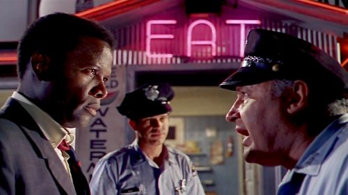 Sidney Poitier, Warren Oates, and Rod Steiger in IN THE HEAT OF THE NIGHT (1967)