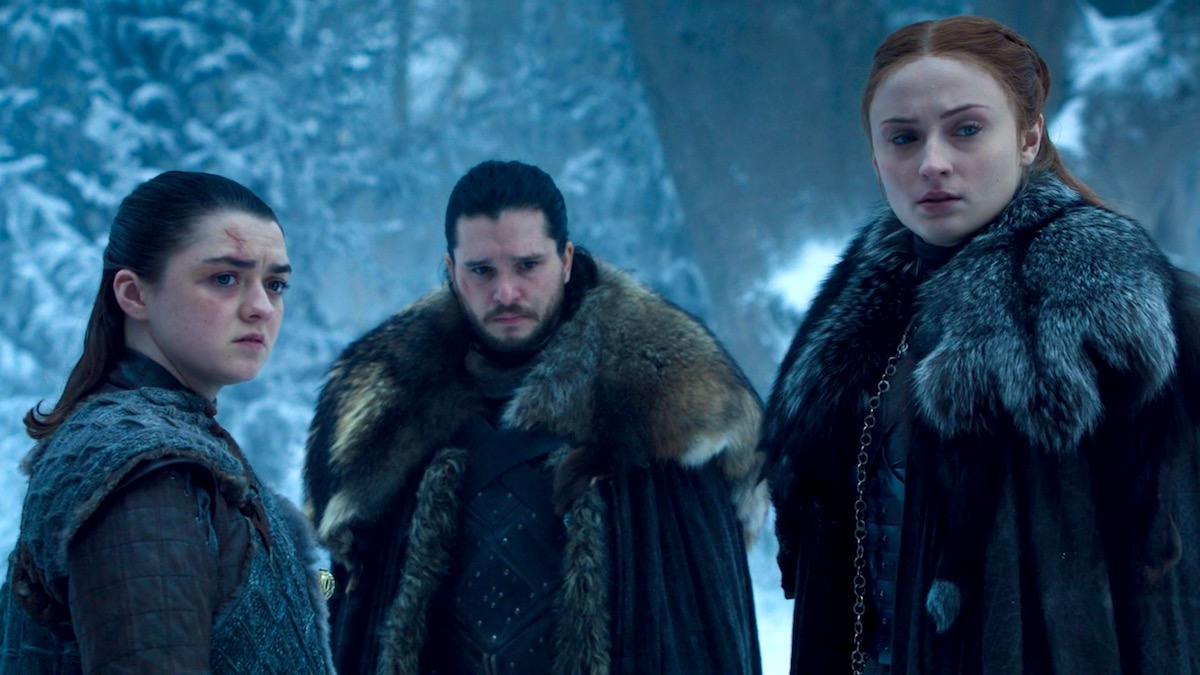 Arya, Jon, and Sansa in Got8x04