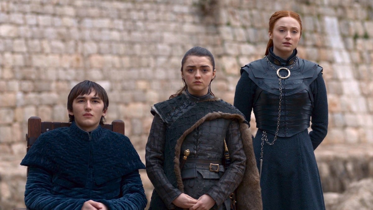 Bran, Arya, and Sansa in GoT 8x06 - The Iron Throne