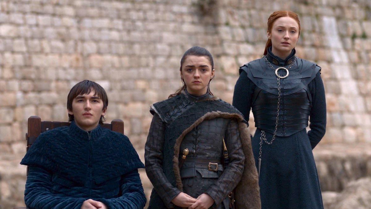 Bran, Arya, and Sansa in GoT 8x06 - The Iron Throne