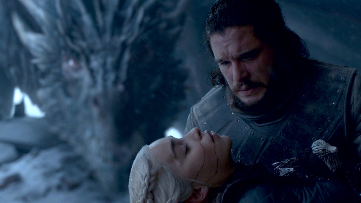 Drogon, Dany, and Jon in GoT 8x06 - The Iron Throne