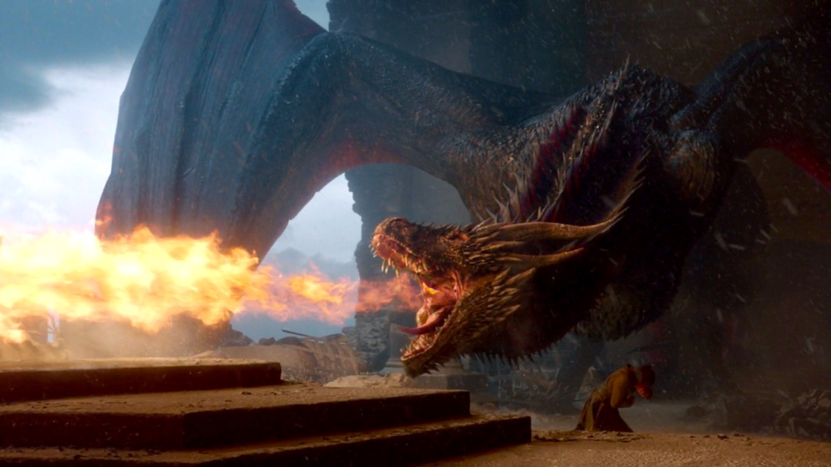 Drogon destroys the Iron Throne in GoT 8x06