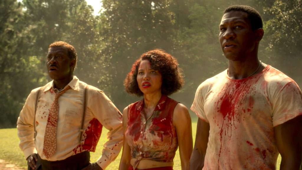 Courtney B. Vance, Jurnee Smollett, and Jonathan Majors in LOVECRAFT COUNTRY.