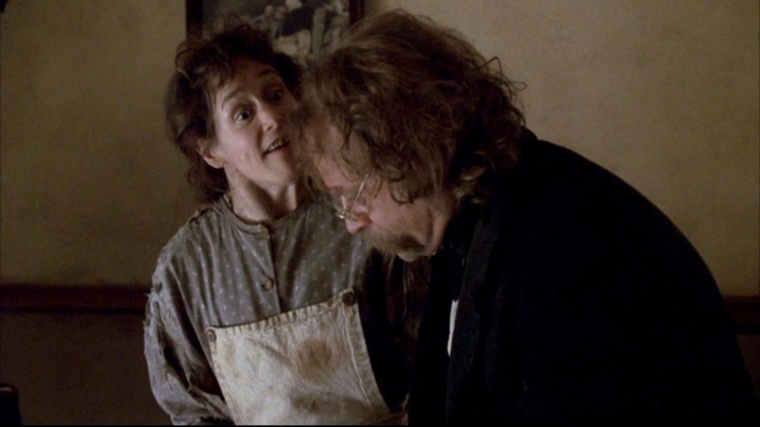 Geri Jewel and Brad Dourif in DEADWOOD 1x11 - Jewel's Boot is Made for Walking