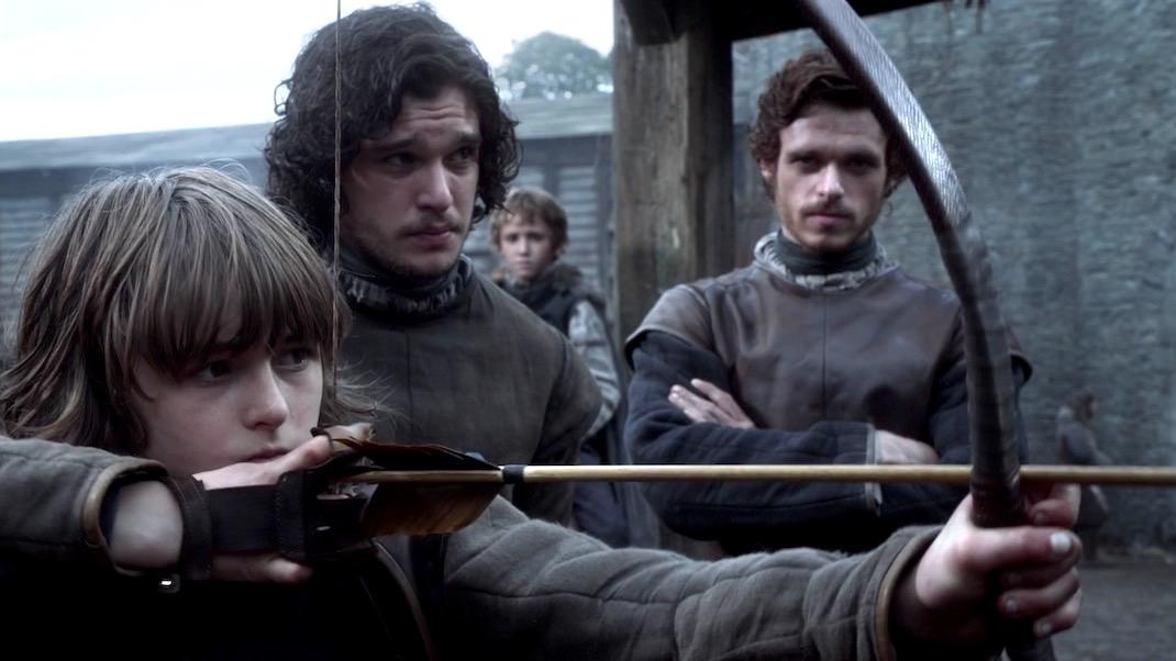 Bran, Jon, Rickon, and Robb in GOT 1x01